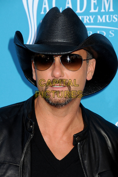 TIM McGRAW .45th Annual Academy Of Country Music Awards - Arrivals held at the MGM Grand Garden Arena, Las Vegas, Nevada, USA..April 18th, 2010.ACM headshot portrait black hat stetson sunglasses shades goatee facial hair.CAP/ADM/BP.©Byron Purvis/AdMedia/Capital Pictures.