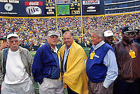 Former Packers Ron and Jerry Kramer are among the Green Bay Packers alumni introduced to the fans at Lambeau Field prior to the 2001 home opener against the Detroit Lions. Part of the Packers' commitment to the fans involves bringing back past Packers for an alumni appreciation day.