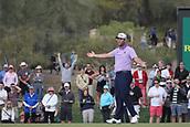 February 2nd 2019, Scottsdale, Arizona, USA; Jon Rahm reacts to his missed putt on the ninth hole during the third round of the Waste Management Phoenix Open on February 02, 2019, at TPC Scottsdale in Scottsdale, AZ.