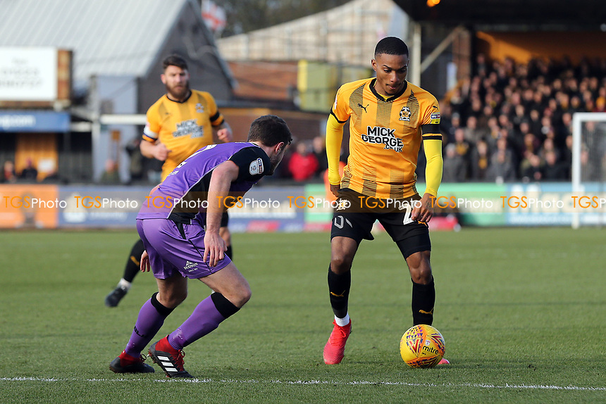 Jevani Brown of Cambridge United and James Gibbons of Port Vale during Cambridge United vs Port Vale, Sky Bet EFL League 2 Football at the Cambs Glass Stadium on 9th February 2019