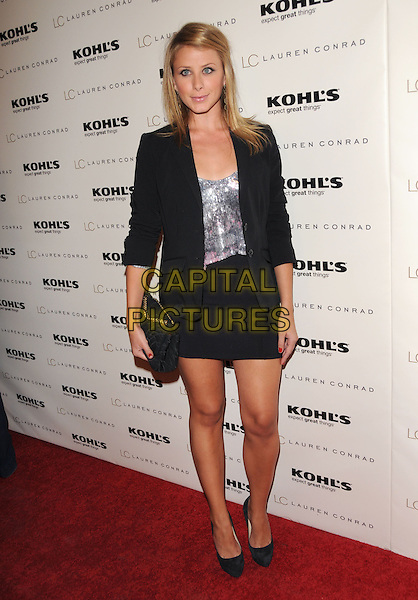 """LAUREN """"LO"""" BOSWORTH.The LC Lauren Conrad for Kohl's Launch Party  on Melrose Place in West Hollywood, California, USA. .October 1st, 2009.full length black skirt blazer jacket clutch bag silver top sequins sequined .CAP/DVS.©Debbie VanStory/Capital Pictures."""