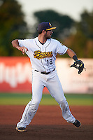 Burlington Bees third baseman Zachary Houchins (12) throws to first during a game against the Clinton LumberKings on August 20, 2015 at Community Field in Burlington, Iowa.  Burlington defeated Clinton 3-2.  (Mike Janes/Four Seam Images)
