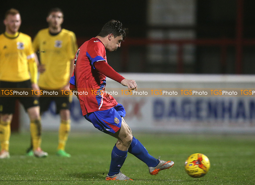 Matt McClure of Dagenham scores a penalty during Dagenham and Redbridge vs Basildon United, BBC Essex Senior Cup Football at the Chigwell Construction Stadium, London, England on 03/11/2015