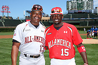 Dwight Smith Sr. and Dwight Smith Jr. (15) during the 2010 Under Armour All-American Game powered by Baseball Factory at Wrigley Field in Chicago, New York;  August 14, 2010.  Photo By Mike Janes/Four Seam Images