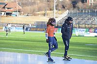 SPEED SKATING: COLLALBO: Arena Ritten, 10-01-2019, ISU European Speed Skating Championships, Antoinette de Jong (NED), Sicco Janmaat (Trainer/coach), ©photo Martin de Jong