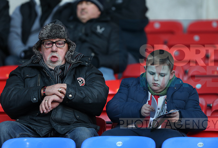 Sheffield Utd fans during the FA Cup Second round match at the Macron Stadium, Bolton. Picture date: December 4th, 2016. Pic Simon Bellis/Sportimage