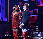"Wayne Brady and Jake Shears during the Curtain Call for Wayne Brady's return to ""Kinky Boots"" on Broadway on March 5, 2018 at the Hirschfeld Theatre in New York City."