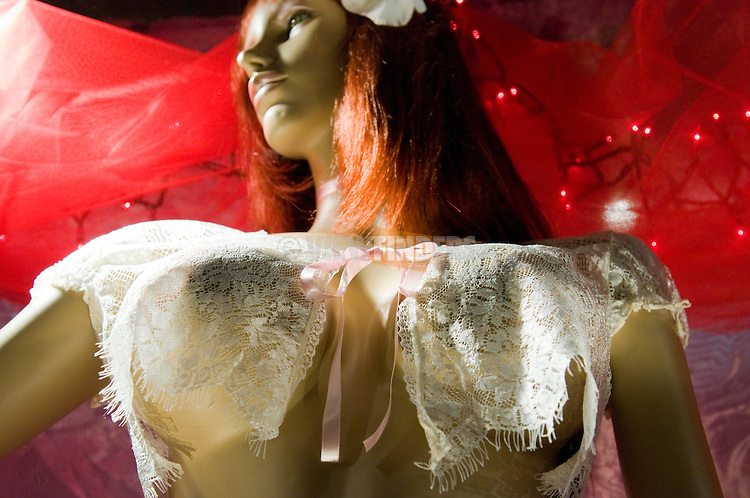 Store Display of Mannequin Wearing Lingerie