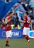 Calcio, finale di Coppa Italia: Roma vs Lazio. Roma, stadio Olimpico, 26 maggio 2013..AS Roma captain AS Roma forward Francesco Totti, left, and forward Mattia Destro react at the end of the Italian Cup football final match between AS Roma and Lazio at Rome's Olympic stadium, 26 May 2013. Lazio won 1-0..UPDATE IMAGES PRESS/Isabella Bonotto....