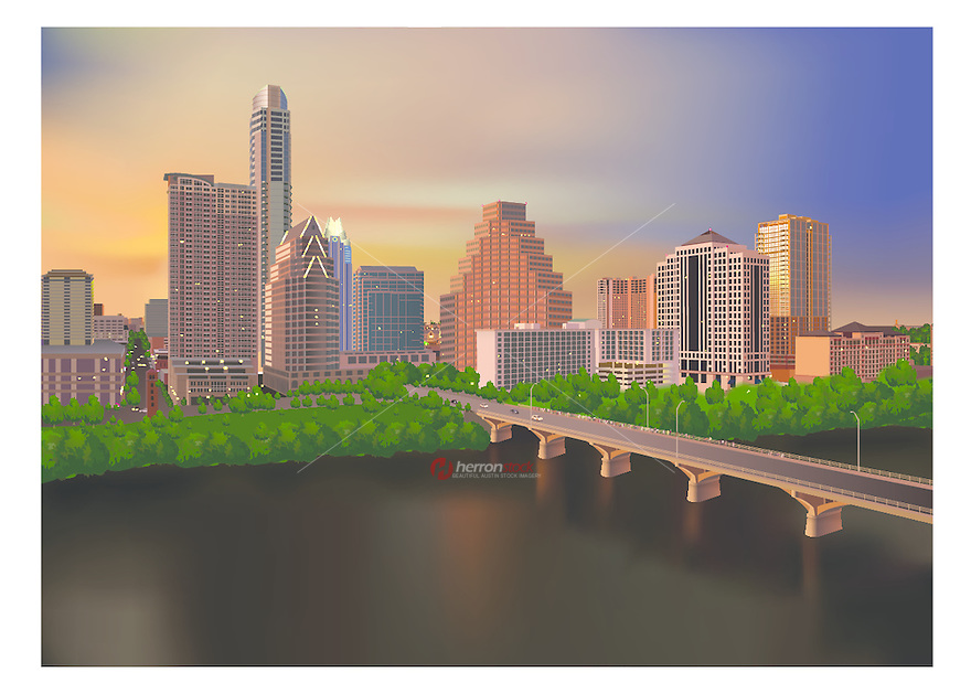 Austin Skyline at Dusk with a beautiful golden-light glow that fades to blue while looking over the Congress Avenue Bridge as people gather to watch the evening bat flight spectacle, vector graphic, eps file.