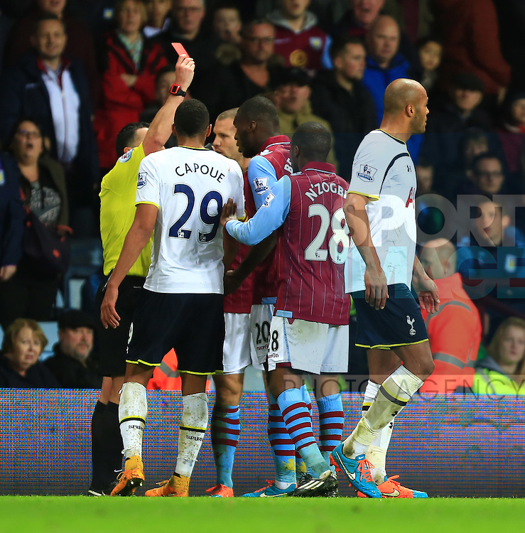 Christian Benteke of Aston Villa is shown a red card - Aston Villa vs. Tottenham Hotspurs - Barclay's Premier League - Villa Park - Birmingham - 02/11/2014 Pic Philip Oldham/Sportimage