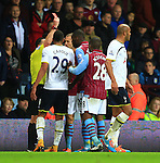 Christian Benteke of Aston Villa is shown a red card - Aston Villa vs. Tottenham Hotspurs - Barclay's Premier League - Villa Park - Birmingham - 02/11/2014 Pic Philip Oldham/Sportimage