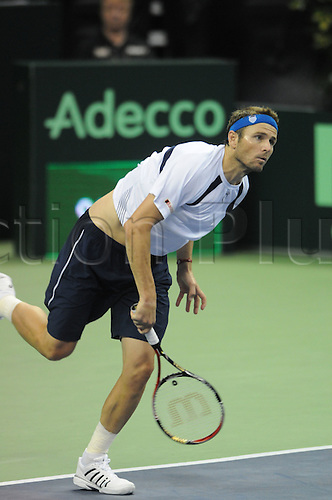 10.07.2011  US Davis Cup member Mardy Fish during loss to Spain's David Ferrer at the Frank Erwin Center in Austin, TX.