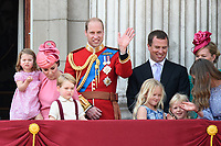 Catherine, Duchess of Cambridge; Princess Charlotte; Prince George &amp; Prince William, Duke of Cambridge; Savannah, Isla &amp; Peter Phillips on the balcony of Buckingham Palace following the Trooping of the Colour Ceremony celebrating the Queen's official birthday. London, UK. <br /> 17 June  2017<br /> Picture: Steve Vas/Featureflash/SilverHub 0208 004 5359 sales@silverhubmedia.com