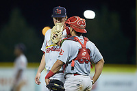 Johnson City Cardinals relief pitcher John Witkowski (43) listens to catcher Aaron Antonini (53) during the game against the Burlington Royals at Burlington Athletic Stadium on September 3, 2019 in Burlington, North Carolina. The Cardinals defeated the Royals 7-2 to even Appalachian League Championship series at one game a piece. (Brian Westerholt/Four Seam Images)