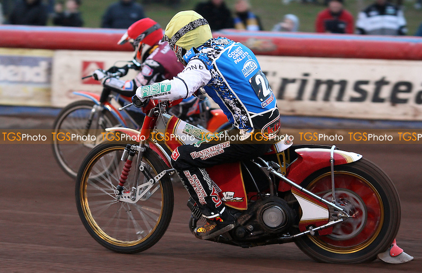 Heat 1: Ricky Kling (yellow) and Peter Karlsson (red) - Lakeside Hammers v Poole Pirates, Elite League Speedway at the Arena Essex Raceway, Pufleet - 04/05/12 - MANDATORY CREDIT: Rob Newell/TGSPHOTO - Self billing applies where appropriate - 0845 094 6026 - contact@tgsphoto.co.uk - NO UNPAID USE..
