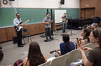 Oxy's newest music instructor, Jason Arimoto, gives an open recital and workshop in Booth Hall, Room 204 on Sept. 1, 2017 to promote his new courses. Joined on stage by music professor G. Simeon Pillich and Grammy­-winning musician/producer Daniel Ho. Jason Arimoto will be teaching Oxy's first­ ever ukulele group classes and private lessons.<br /> (Photo by Marc Campos, Occidental College Photographer)