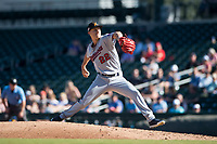 Salt River Rafters starting pitcher Griffin Jax (22), of the Minnesota Twins organization, delivers a pitch during an Arizona Fall League game against the Mesa Solar Sox at Sloan Park on November 9, 2018 in Mesa, Arizona. Mesa defeated Salt River 5-4. (Zachary Lucy/Four Seam Images)