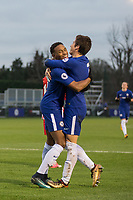 Goal scorer Juan Familio-Castillo of Chelsea celebrates with Harvey St Clair during the UEFA Youth League group match between Chelsea and Atletico Madrid Juvenil A at the Chelsea Training Ground, Cobham, England on 5 December 2017. Photo by Andy Rowland.