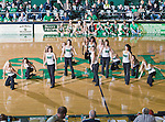 North Texas Mean Green dance team members in action during the game between the Louisiana Monroe Warhawks and the University of North Texas Mean Green at the North Texas Coliseum,the Super Pit, in Denton, Texas. UNT defeats ULM 86 to 51...