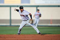 Jupiter Hammerheads second baseman Angel Reyes (30) throws to first base during a game against the Lakeland Flying Tigers on April 17, 2017 at Joker Marchant Stadium in Lakeland, Florida.  Lakeland defeated Jupiter 5-1.  (Mike Janes/Four Seam Images)