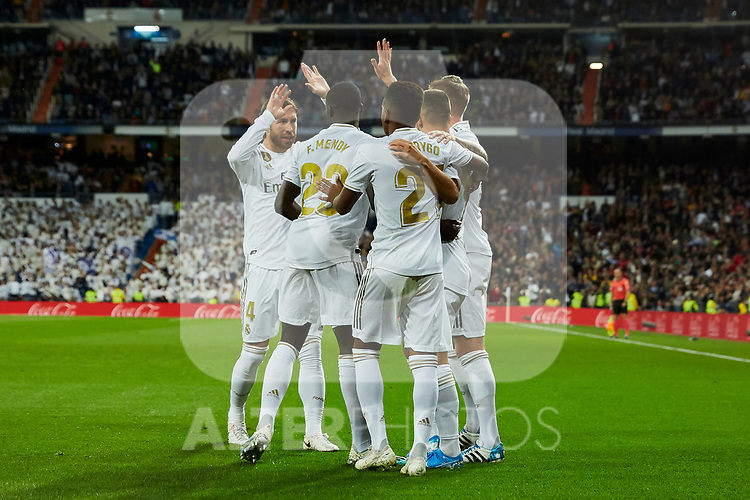 Players of Real Madrid celebrate goal during La Liga match between Real Madrid and Real Betis Balompie at Santiago Bernabeu Stadium in Madrid, Spain. November 02, 2019. (ALTERPHOTOS/A. Perez Meca)