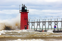 64795-02317 South Haven Lighthouse with high waves crashing South Haven,  MI