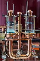 France, Calvados (14), Pays d' Auge,  Le Breuil-en-Auge, Château du Breuil,   distillerie  de Calvados , les alambics  // France, Calvados, Pays d' Auge,  Le Breuil en Auge, Château du Breuil, Calvados distillery,   pot still