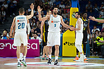 Real Madrid Jaycee Carroll, Felipe Reyes and Rudy Fernandez during first match quarter finals of Liga Endesa Playoff between Real Madrid and Iberostar Tenerife at Wizink Center in Madrid, Spain. May 27, 2018. (ALTERPHOTOS/Borja B.Hojas)