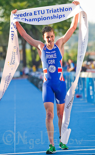 25 JUN 2011 - PONTEVEDRA, ESP - Alistair Brownlee (GBR) celebrates victory at the Elite Men's European Triathlon Championships in Pontevedra, Spain (PHOTO (C) NIGEL FARROW)