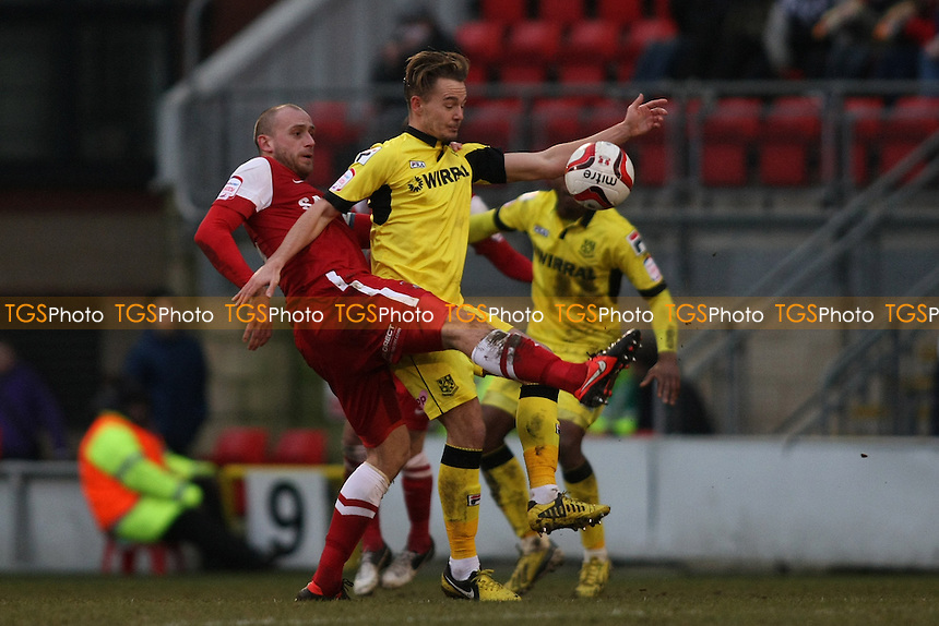Scott Cuthbert of Leyton Orient and Adam McGurk of Tranmere Rovers - Leyton Orient vs Tranmere Rovers - NPower League One Football at the Matchroom Stadium, Brisbane Road - 09/02/13 - MANDATORY CREDIT: George Phillipou/TGSPHOTO - Self billing applies where appropriate - 0845 094 6026 - contact@tgsphoto.co.uk - NO UNPAID USE.