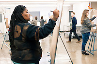 Braxton Scarbrough, a freshman art major from Gulfport, begins the spring 2017 semester by working on a project called &quot;expansive space&quot; in Assistant Professor of Art Neil Callandar's drawing 2 class.<br />