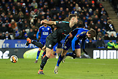 18th March 2018, King Power Stadium, Leicester, England; FA Cup football, quarter final, Leicester City versus Chelsea; Jamie Vardy of Leicester City flicks the ball past Gary Cahill of Chelsea