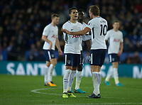 Erik Lamela congratulates Harry Kane of Tottenham on his goal during the Premier League match between Leicester City and Tottenham Hotspur at the King Power Stadium, Leicester, England on 28 November 2017. Photo by James Williamson / PRiME Media Images.