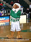 Scrappy, the North Texas Mean Green Mascot strikes a pose during the game between the Jackson State Tigers and the University of North Texas Mean Green at the North Texas Coliseum,the Super Pit, in Denton, Texas. UNT defeated Jackson 68 to 49
