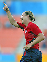14 August 2004:  Abby Wambach celebrates after scoring a goal in the game against Brazil at Kaftanzoglio Stadium in Thessaloniki, Greece.   USA defeated Brazil at 2-0 . Credit: Michael Pimentel / ISI