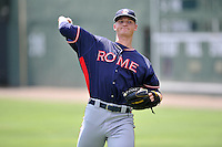 Starting pitcher Mike Soroka (54) of the Rome Braves warms up before a game against the Greenville Drive on Sunday, July 31, 2016, at Fluor Field at the West End in Greenville, South Carolina. Rome won, 6-3. (Tom Priddy/Four Seam Images)