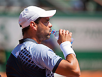 France, Paris , May 24, 2015, Tennis, Roland Garros, Alejandro Falla (COL) takes a drink during changeover<br /> Photo: Tennisimages/Henk Koster