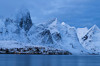 Winter view of Reine area, Moskenesøy, Lofoten Islands, Norway