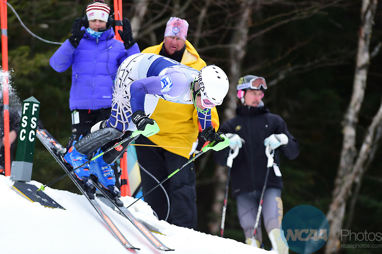 FRANCONIA, NH - MARCH 10:   Michael Boardman of Colby College leaves the start during the Men's Slalom event at the Division I Men's and Women's Skiing Championships held at Cannon Mountain on March 10, 2017 in Franconia, New Hampshire. (Photo by Gil Talbot/NCAA Photos via Getty Images)