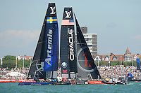 Oracle Team USA, JULY 23, 2016 - Sailing: Oracle Team USA crosses with Artemis Racing during day one of the Louis Vuitton America's Cup World Series racing, Portsmouth, United Kingdom. (Photo by Rob Munro/Stewart Communications)