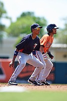 Minnesota Twins Jermaine Palacios (22) in the field as Jay Gonzalez (57) leads off second  during an instructional league game against the Baltimore Orioles on September 22, 2015 at Ed Smith Stadium in Sarasota, Florida.  (Mike Janes/Four Seam Images)