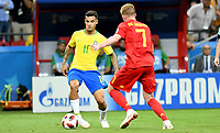 KAZAN - RUSIA, 06-07-2018: PHILIPPE COUTINHO jugador de Brasil en acción durante partido de cuartos de final entre Brasil y Bélgica por la Copa Mundial de la FIFA Rusia 2018 jugado en el estadio Kazan Arena en Kazán, Rusia. / PHILIPPE COUTINHO player of Brazil in action during the match between Brazil and Belgium of quarter final for the FIFA World Cup Russia 2018 played at Kazan Arena stadium in Kazan, Russia. Photo: VizzorImage / Julian Medina / Cont