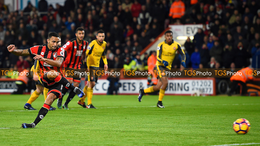 Callum Wilson of AFC Bournemouth scores the second goal from the penalty spot during AFC Bournemouth vs Arsenal, Premier League Football at the Vitality Stadium on 3rd January 2017