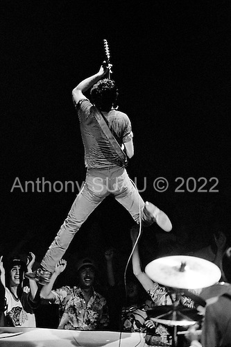 Rosemont, Illinois<br /> USA<br /> September 8, 1981<br />  <br /> Bruce Springsteen and the E Street Band perform during &quot;The River Tour&quot; at Rosemont Horizon near Chicago. <br /> <br /> The band includes front man - lead singer and song writer Bruce Springsteen &quot;The Boss&quot;, guitarist and vocals Steven Van Zandt, drummer Max Weinberg, bassist Garry Tallent, Roy Bittan on keyboards and Clarence Clemons  on saxophone. <br /> <br /> The E Street Band was founded in October 1972, but it wasn't formally named until September 1974. Springsteen has put together other backing bands during his career, but the E Street Band has been together more or less continuously for the past four decades.<br /> <br /> Springsteen is widely known for his brand of Heartland rock, poetic lyrics, and Americana sentiments centered on his native New Jersey.<br /> <br /> Springsteen's recordings have included both commercially accessible rock albums and more sombre folk-oriented works. His most successful studio albums, Born to Run and Born in the U.S.A., showcase a talent for finding grandeur in the struggles of daily American life; he has sold more than 65 million albums in the United States and 120 million worldwide and he has earned numerous awards for his work, including 20 Grammy Awards, two Golden Globes and an Academy Award.