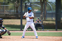 AZL Dodgers second baseman Luis Rodriguez (40) at bat during an Arizona League game against the AZL Padres 2 at Camelback Ranch on July 4, 2018 in Glendale, Arizona. The AZL Dodgers defeated the AZL Padres 2 9-8. (Zachary Lucy/Four Seam Images)