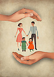 Illustrative image of human hands shielding family representing insurance