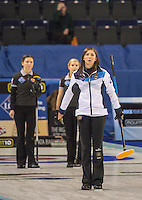 Glasgow. SCOTLAND.  Women's Semi Final&quot; Scotland vs Russia.               Scotland's &quot;Skip' Eve MUIRHEAD, show's her  dissipointment `t the delivery, of her last &quot;Stone' at the . Le Gruy&egrave;re European Curling Championships. 2016 Venue, Braehead  Scotland.<br /> <br /> Friday  25/11/2016<br /> <br /> [Mandatory Credit; Peter Spurrier/Intersport-images]