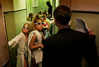 Fashionistas dress for glamour and fun at a chidren's fashion show held at Badrutt's Palace Hotel, a luxurious retreat in St. Moritz. <br /> <br /> Backstage at the children's fashion show at the Palace Hotel in St Moritz. Switzerland.  It was a charity fundraiser for a hospital..