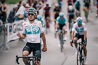 Michal Kwiatkowski (POL/SKY) crosses the finish line happy with his teammate's overall victory<br /> <br /> Stage 7: Moûtiers > Saint-Gervais Mont Blanc (129km)<br /> 70th Critérium du Dauphiné 2018 (2.UWT)